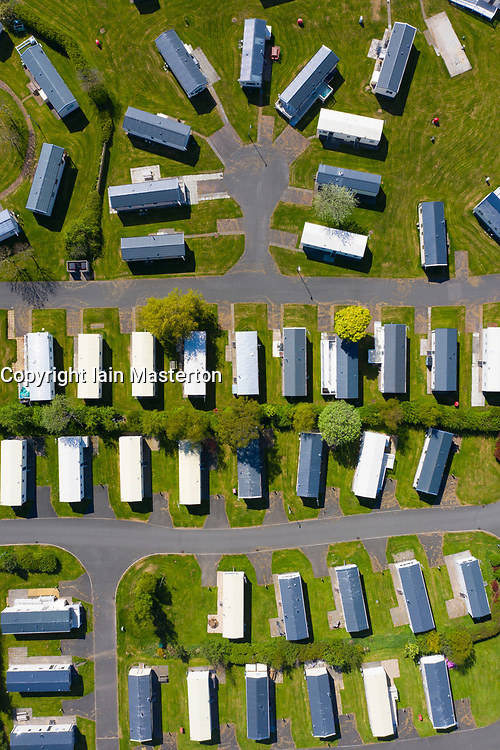 Ayr, Scotland, UK. 4 May 2020. Aerial view of caravans at Craig Tara Caravan Holiday Park, south of Ayr. The holiday park is closed during the coronavirus lockdown and caravans remain empty on what would be be a busy weekend. The park is on what was formerly the Ayr Butlins holiday park. Iain Masterton/Alamy Live News