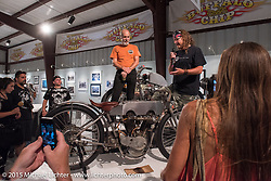 "Bill Rodencal speaks about his Model 11 KR Harley Davidson at the industry party for the Motorcycles as Art show titled ""The Naked Truth"" at the Buffalo Chip. SD, USA.  August 2, 2015.  Photography ©2015 Michael Lichter."