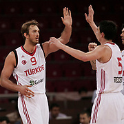 Turkey's Semih Erden (L) with Emir Preldzic  during their Adidas Istanbul Cup 2012 Final basketball match Turkey between Finland at the Abdi ipekci Arena in Istanbul Turkey on Thursday 02 August 2012. Photo by TURKPIX