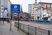 As the third national coronavirus lockdown continues the streets remain eerily empty, like here on the main road in to the City Centre via Digbeth on 18th January 2021 in Birmingham, United Kingdom. Following the recent surge in cases including the new variant of Covid-19, this nationwide lockdown, which is an effective Tier Five, advises all citizens to follow the message to stay at home, protect the NHS and save lives.