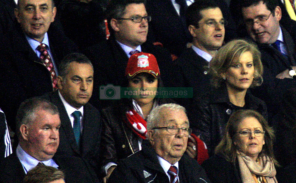 Dubai International Capital chief negotiator Amanda Staveley (r) and chief executive Samir Al-Ansari (l) in the stands