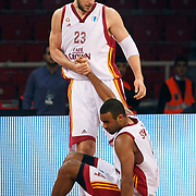 Galatasaray Cafe Crown's Joshua Ian SHIPP (R) and Ermal KURTOGLU (L) during their ULEB Eurocup Quarterfinals last 16 group K game 3 basketball match Galatasaray between CEZ Nymburk at the Abdi Ipekci Arena in Istanbul at Turkey on Tuesday, February, 01, 2011. Photo by TURKPIX