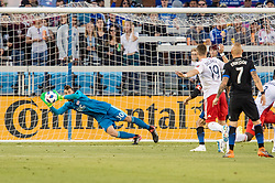 June 13, 2018 - San Jose, CA, U.S. - SAN JOSE, CA - JUNE 13: San Jose Earthquakes Defender Yeferson Quintana (30) saves a shot during the MLS game between the New England Revolution and the San Jose Earthquakes on June 13, 2018, at Avaya Stadium in San Jose, CA. The game ended in a 2-2 tie. (Photo by Bob Kupbens/Icon Sportswire) (Credit Image: © Bob Kupbens/Icon SMI via ZUMA Press)
