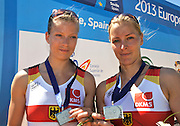 Seville. Andalusia. SPAIN.  Women's pair Silver Medalist, GER W2- Kerstin HARTMANN and Marlene SINNIG,  2013 FISA European Rowing Championship.  Guadalquivir River.  Sunday   02/06/2013  [Mandatory Credit. Peter Spurrier/Intersport]