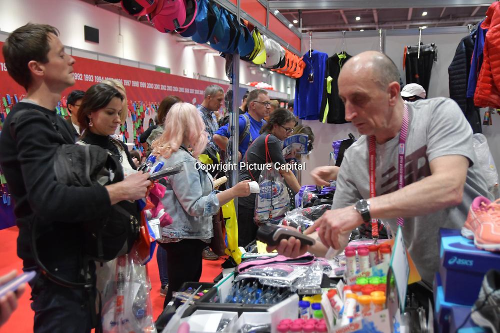 London Marathon Exhibition 2019 - ExCeL London on 26 April 2019, London, UK.
