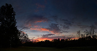 Colorful Clouds at Dawn. Backyard Autumn Nature in New Jersey. Composite of eight images taken with a Leica CL camera and 23 mm f/2 lens.