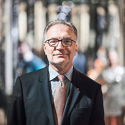 Dominique Marcel, Chairman and CEO of Compagnie des Alpes, posing in the Musee Grevin's, which is owned by the group. Paris, France. December 12, 2017.<br /> Dominique Marcel, President directeur general de la Compagnie des Alpes, pose dans une salle du Musee Grevin, que son groupe possede. Paris, France. 12 decembre 2017.