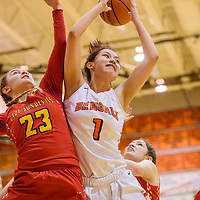 Gallup Bengal Ashley Antone (1) and Espanola Sundevil Jaci Cole (23) compete for a rebound Tuesday at Gallup High School.