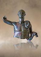 Upper part of a monumental Roman statue of an unknown person possibly a Roman magistrate of Imperial Rome , circa 40BC, inv 15055 Vatican Museum Rome, Italy,  art background ..<br /> <br /> If you prefer to buy from our ALAMY STOCK LIBRARY page at https://www.alamy.com/portfolio/paul-williams-funkystock/greco-roman-sculptures.html . Type -    Vatican    - into LOWER SEARCH WITHIN GALLERY box - Refine search by adding a subject, place, background colour, museum etc.<br /> <br /> Visit our CLASSICAL WORLD HISTORIC SITES PHOTO COLLECTIONS for more photos to download or buy as wall art prints https://funkystock.photoshelter.com/gallery-collection/The-Romans-Art-Artefacts-Antiquities-Historic-Sites-Pictures-Images/C0000r2uLJJo9_s0c