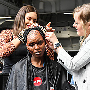 Model Dunia Abdi - Queen Bee is a first character from Ida Astero Welle's three-part series Mothermorphosis demo at IMATS on 18 May 2019,  London, UK.
