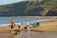 Runswick Bay - North Yorkshire - England - family making sand castles