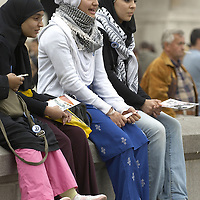 Muslim teenagers and  girls wearing hijab, Eid in the Square, London, England<br />