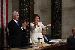 United States Vice President Mike Pence and Speaker of the United States House of Representatives Nancy Pelosi (Democrat of California) applaud as United States President Donald J. Trump finished delivering his second annual State of the Union Address to a joint session of the US Congress in the US Capitol in Washington, DC, USA on Tuesday, February 5, 2019. Photo by Alex Edelman/CNP/ABACAPRESS.COM