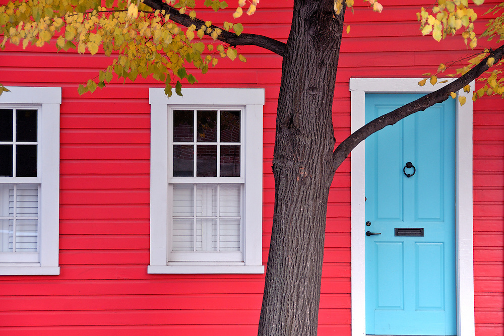 Blue door on a red house with yellow fall foliage in the Fells Point neighborhood of Baltimore City.