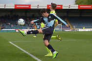 Joe Jacobson of Wycombe Wanderers kicks the ball over Nicky Featherstone of Hartlepool United. Skybet football league two match, Wycombe Wanderers v Hartlepool Utd at Adams Park in High Wycombe, Bucks on Saturday 5th Sept 2015.<br /> pic by John Patrick Fletcher, Andrew Orchard sports photography.