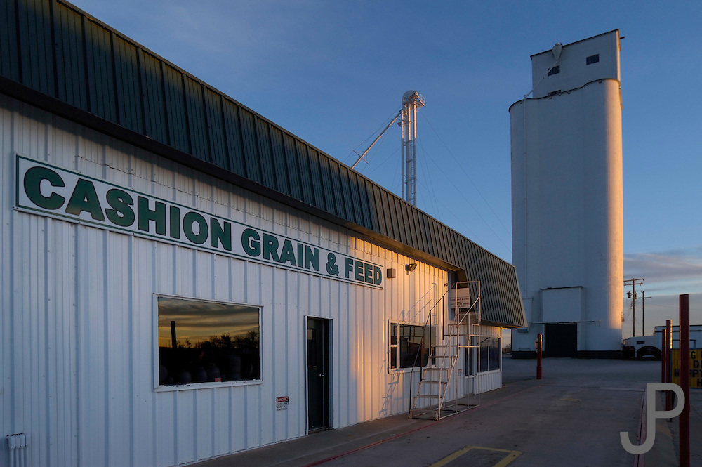 Grain elevator in Cashion, Oklahoma.