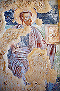 Byzantine fresco of the church of  Saint Nicolas.   Mystras ,  Sparta, the Peloponnese, Greece. A UNESCO World Heritage Site .<br /> <br /> Visit our GREEK HISTORIC PLACES PHOTO COLLECTIONS for more photos to download or buy as wall art prints https://funkystock.photoshelter.com/gallery-collection/Pictures-Images-of-Greece-Photos-of-Greek-Historic-Landmark-Sites/C0000w6e8OkknEb8 <br /> .<br /> <br /> Visit our BYZANTINE ART PHOTO COLLECTION for more   photos  to download or buy as prints https://funkystock.photoshelter.com/gallery-collection/Roman-Byzantine-Art-Artefacts-Antiquities-Historic-Sites-Pictures-Images-of/C0000lW_87AclrOk