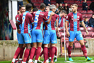 Scunthorpe United celebrate goal scored byScunthorpe United forward Lee Novak (17)  to go 1-0 during the EFL Sky Bet League 1 match between Scunthorpe United and Rochdale at Glanford Park, Scunthorpe, England on 8 September 2018. Photo Ian Lyall