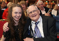 John Ronan, from Celbridge with his granddaughter Megan at the state event for 1916 relatives at the RDS, John's uncle willie Ronan fought in the battle of Mount Street bridge during the 1916 Rising. Picture credit; Damien Eagers 26/3/2016