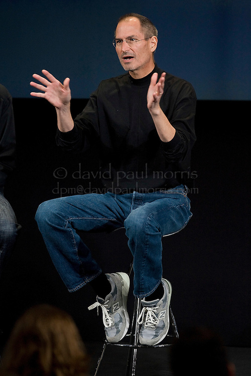CUPERTINO, CA - MARCH 6:  Apple CEO Steve Jobs gestures as he answers questions from the media at the Apple headquarters March 6, 2008 in Cupertino, California.   Apple introduced a new iPhone software developers kit which enables 3rd party software developers to develop software for the iPhone.   (Photograph by David Paul Morris)