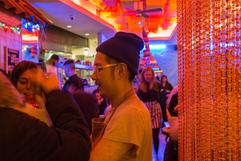 New York, NY - 11 February 2014. Chef / owner Danny Bowien greeting patrons at Mission Cantina.