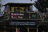 Scoreboard showing 1-0 during the EFL Carabao Cup 2nd round match between AFC Wimbledon and West Ham United at the Cherry Red Records Stadium, Kingston, England on 28 August 2018.