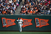 San Francisco Giants left fielder Jarrett Parker (6) watches game play from left field during a MLB game against the Arizona Diamondbacks at AT&T Park in San Francisco, California, on August 6, 2017. (Stan Olszewski/Special to S.F. Examiner)