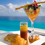 Dessert with caribbean ocean in the background