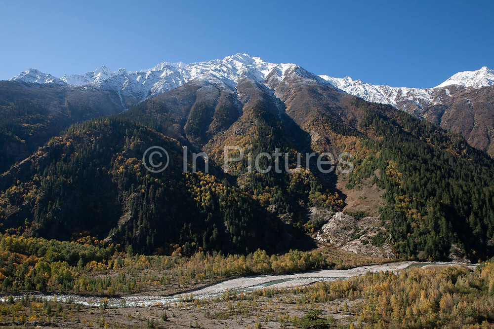A river running through the Kinnaur valley, 20th October 2009, Himachal Pradesh, India. The region of Spiti and Kinnaur is a remote and tribal area of the Indian Himalayas near the Tibetan border.