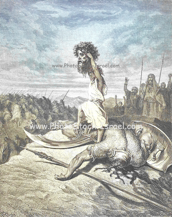 Machine colourised (AI) David Slays Goliath From the book 'Bible Gallery' Illustrated by Gustave Dore with Memoir of Dore and Descriptive Letter-press by Talbot W. Chambers D.D. Published by Cassell & Company Limited in London and simultaneously by Mame in Tours, France in 1866
