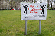 Social distancing sign at the Jubillee Park and Garden on the South Bank on 13th April 2021 in London, United Kingdom. The South Bank is a significant arts and entertainment district, and home to an endless list of activities for Londoners, visitors and tourists alike.