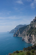 View of the rugged coastline of the Amalfi Coast near Positano, Campagna, Italy.