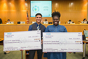 College and Career Readiness scholarship recipients Jesus Cortina and Jalesha Bass pose for a photograph during a Houston ISD Board of Trustee meeting, May 11, 2017.