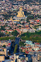 cityscape skyline of downtown Tbilisi with Holy Trinity Cathedral Georgia capital city eastern Europe