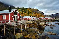Fisherman cabins (Rorbuer) in Nusfjord village in the Lofoten Islands of Norway