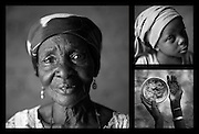 """Clockwise from left: Delou Ibrahim, 70. Her granddaughter Latifa, 8. Delou's hands hold sorrel leaves, used as a condiment, and grains of sorghum at her home in Saran Maradi, Niger. (Photo: Rodrigo Ordonez/CARE)<br /> <br /> Delou Ibrahim has four children and suffered the loss of nine. She has about 40 grandchildren, 16 of which live with her. <br /> """"I've seen several crises. The famine in 1984 was the hardest. Rains were very weak. The stems of millet came out but the spikes gave no grain - nothing,"""" she recalls. """"Two years ago at least there were people who harvested millet, but this year the crops have been worse because of the drought and the leaf miners."""" Delou's last crop was 30kg, which only provided food for about two days.<br /> Delou and her family receive cash from CARE. """"I get to buy cereal to feed my family, particularly my grandchildren."""" They have two daily meals, porridge in the morning and sorghum paste in the evening."""