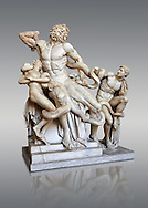 Statue group identified as as the Laocoon described by Pliny as a masterpiece made by the sculptors of Rhodes. The Laocoon depicts a scene from the Trojan War in which Athena and Poseidon sent two great serpants to wrap themselves around Laocoon and his two sons to kill them. Circa 40-30BC, Pope Clement XIV coillection, Vatican Museum Rome, Italy, art background ..<br /> <br /> If you prefer to buy from our ALAMY STOCK LIBRARY page at https://www.alamy.com/portfolio/paul-williams-funkystock/greco-roman-sculptures.html . Type -    Vatican    - into LOWER SEARCH WITHIN GALLERY box - Refine search by adding a subject, place, background colour, museum etc.<br /> <br /> Visit our CLASSICAL WORLD HISTORIC SITES PHOTO COLLECTIONS for more photos to download or buy as wall art prints https://funkystock.photoshelter.com/gallery-collection/The-Romans-Art-Artefacts-Antiquities-Historic-Sites-Pictures-Images/C0000r2uLJJo9_s0c
