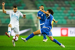 Roman Bezjak of Slovenia and Margaca of Cyprus during football match between National Teams of Slovenia and Cyprus in Final Tournament of UEFA Nations League 2019, on October 16, 2018 in SRC Stozice, Ljubljana, Slovenia. Photo by  Morgan Kristan / Sportida