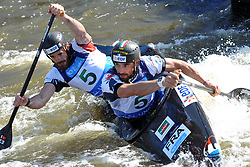 June 2, 2018 - Prague, Czech Republic - Nicolas Scianimanico and Hugo Cailhol of France in action during the Men's C2 finals at the European Canoe Slalom Championships 2018 at Troja water canal in Prague, Czech Republic, 02 June 2018. (Credit Image: © Slavek Ruta via ZUMA Wire)
