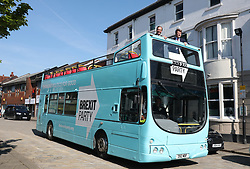 (left) Brexit Party leader Nigel Farage and Richard Tice arrive to Pontefract, West Yorkshire, in the Brexit bus while on the European Election campaign trail. Picture dated: Monday May 13, 2019. Photo credit should read: Isabel Infantes / EMPICS Entertainment.
