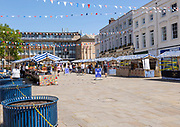 As lockdown eases a small number of shoppers and few stallholders attend the open air market, Warwick, Warwickshire, England, UK 30th May 2020