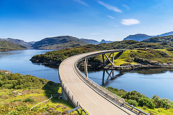 View of Kylesku Bridge on North Coast 500 tourist route in Sutherland, Highland, Scotland , United Kingdom,
