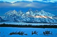Winter season over the Grand Tetons at sunrise.  Grand Teton National Park.  Wyoming, USA