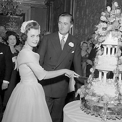 15 May 1958 - Frances Sweeny and the Duke of Rutland at their wedding in London.<br /> Photo by Desmond O'Neill Features Ltd.  +44(0)1306 731608  www.donfeatures.com