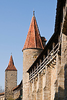 Historic city wall and towers, Rothenburg ob der Tauber, Franconia, Bavaria, Germany