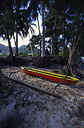 Outrigger canoe, Muri Beach, Rarotonga, Cook Islands,<br />