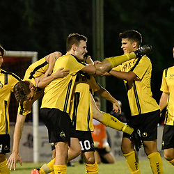 BRISBANE, AUSTRALIA - APRIL 13: Moreton Bay players celebrate scoring a goal during the NPL Queensland Senior Men's Round 4 match between Olympic FC and Moreton Bay Jets at Goodwin Park on April 13, 2017 in Brisbane, Australia. (Photo by Patrick Kearney/Olympic FC)