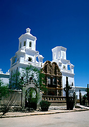 Arizona: Tucson.  Xavier del Bac Church.   Photo #: aztucs103.  .Photo copyright Lee Foster, 510/549-2202,  lee@fostertravel.com, www.fostertravel.com
