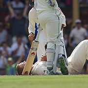 Nathan Hauritz on the ground after dismissing Mohammad Yousuf during the Australia V Pakistan 2nd Cricket Test match at the Sydney Cricket Ground, Sydney, Australia, 6 January 2010. Photo Tim Clayton
