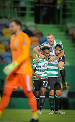 September 20, 2018 - Na - Lisbon, 20/09/2018 - Europa League 2018/2019: Sporting vs Qarabag FK The Sporting Clube de Portugal (PRT) received this evening at the Alvalade XXI stadium, the Qarabag FK (AZE) E) from the group stage of the Europa League 2018 / 2019. Jovane Cabral celebrates 2-0 with Bruno Fernandes and Stefan Ristovski  (Credit Image: © Atlantico Press via ZUMA Wire)